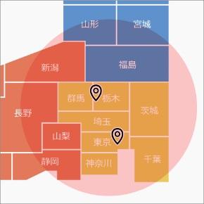 関東、近辺の地図